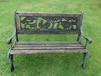 Children's wooden garden bench