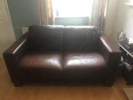 Genuine Brown Leather 2 & 3 Seater Sofa