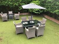 Sicily Bronze Garden Patio Table With 6 Allibert lowa Cappuccino Chairs Brand New