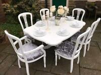 Dining Table & 6 Chairs ~ EXTENDS ~ SILVER GREY CRUSHED VELVET SEATS