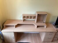 IKEA Beech Desk Set With Drawers Cupboard and On Top Desk Storage Unit Excellent Condition
