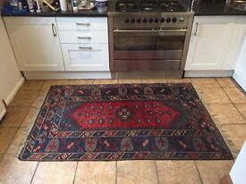 Red and blue wool Turkish antique Persian rug £50ONO