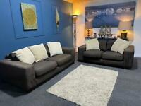 Brown fabric suite with cream cushions 3 and 2 seater sofas