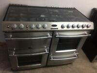 Stainless steel belling 110cm dual fuel cooker grill & double fan assisted ovens with guarantee