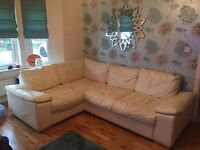 Cream leather corner couch for sale, £150.
