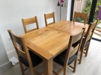 Vancouver Oak Table 1.8m - 2.3m & 8x Oak Chairs