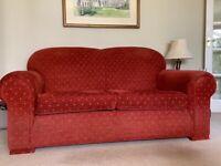 Two hardwood framed 2.5 seater sofas