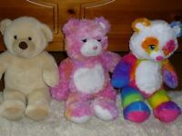 Excellent condition 3 x Build-A Bears teddies with shoes, clothes, roller skates and accessories