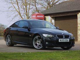 "2009/09 BMW 320I M SPORT COUPE BLACK PETROL 19"" ALLOYS 65,000 MILES CAT D"