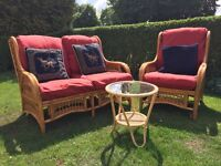 Conservatory 2-seater sofa, matching chair and small table