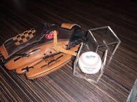 rawlings baseball mitt and ball