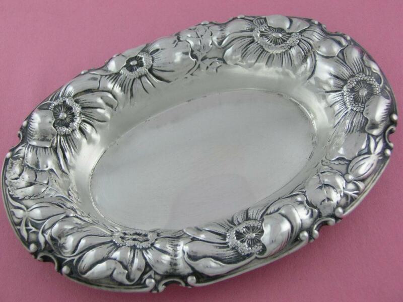 Sterling GORHAM Oval Dish ART NOUVEAU Floral