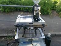 2 group espresso machine+grinder+water softener+water pump