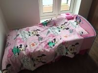 Minnie Mouse Toddler bed, mattress, underbed storage, shelf and full bedding set for sale