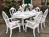 Dining Table & 6 Chairs ~ Carver's ~ Extends Silver Crushed Velvet