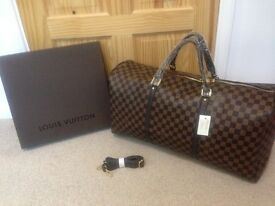 Louis Vuitton Brown Chequered Duffel Large Travel bag with a strap for sale