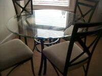 ROUND GLASS & metal table with 4 chairs - FURNITURE VILLAGE