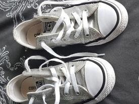kids silver converse, size 13