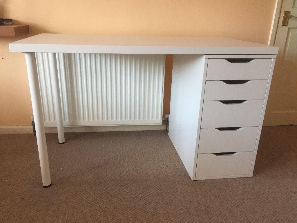 Ikea Alex Linnmon White Desk Inc Drawers In Dalston London