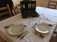 Rosewood and bronze 6 placement cutlery set in presentation box