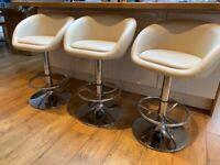 3 faux leather cream bar stools