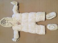 Newborn White padded snowsuit with mittens & booties