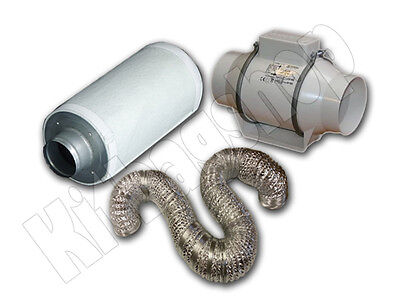 "EXTRACTOR FAN KIT CARBON FILTER 5"" HYDROPONICS SET"