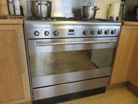 Smeg dual fuel range cooker. Model SUK91MFX7. 90cm wide single oven 5 burner hob