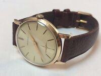 Beautiful vintage Garrard 9ct 9k solid gold mens watch