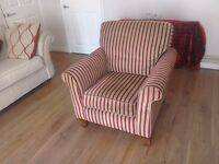 Burgandy and gold stripe armchair