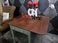 Beautiful Vintage Drop Leaf Shabby Chic Dining Kitchen Table - Delivery