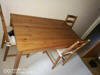 wooden table plus 4 chairs