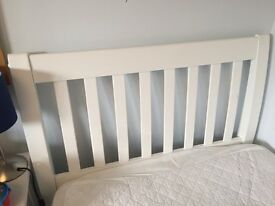 White wooden single bed frame- ideal for a child