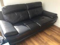 Blue leather 3 seater sofa