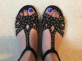 Black suede sandals. Size 5.