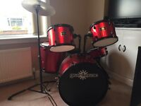 Full Size Set of Drums including drum sticks, drum seat and silencing pads