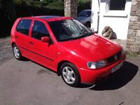 VW Polo 1.4 cl. Cherry red, drives well. Spares or repairs. £125.