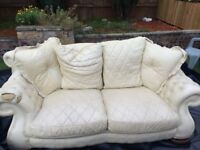 White Leather Second Hand Sofa