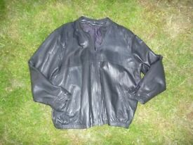 Men's Jet Black Real Leather Jacket, 50 inch Chest.