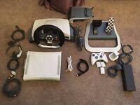 Xbox 360, steering wheel, 15 games + accessories