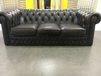 Genuine leather comfy chesterfield sofa •free delivery