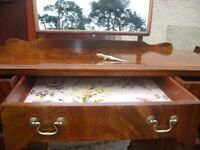 ratty style dressing table vintage mirror dresser c. 1950, chest of drawers, shabby chic mirror