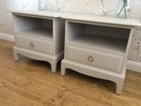 Stag Bedside Cabinets Drawers Table Painted Laura Ashley French Grey