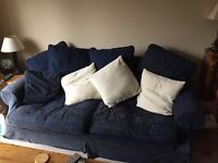 Free Sofa's . One 3 Seater , One 4 Seater . Blue with cushions .