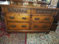 Victorian/Edwardian Quality Sideboard Solid Walnut Carved 6 Drawer Large Chest