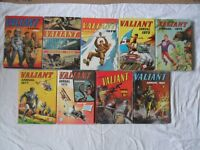 9 x VALIANT ANNUALS 1960s, 1970s, 1980s. GOOD CONDITION - SEE MORE IMAGES.