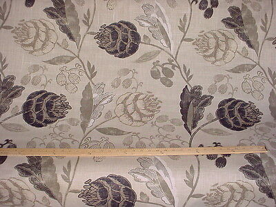 3-3/4Y ESPRESSO / BROWN / SAGE GREEN FLORAL DRAPERY  UPHOLSTERY FABRIC