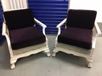 2 x French Antique / Shabby Sheek Occasional Armchairs
