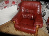 burgundy leather 3 seater and one chair
