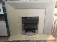 Oatmeal fire surround marble backing and hearth
